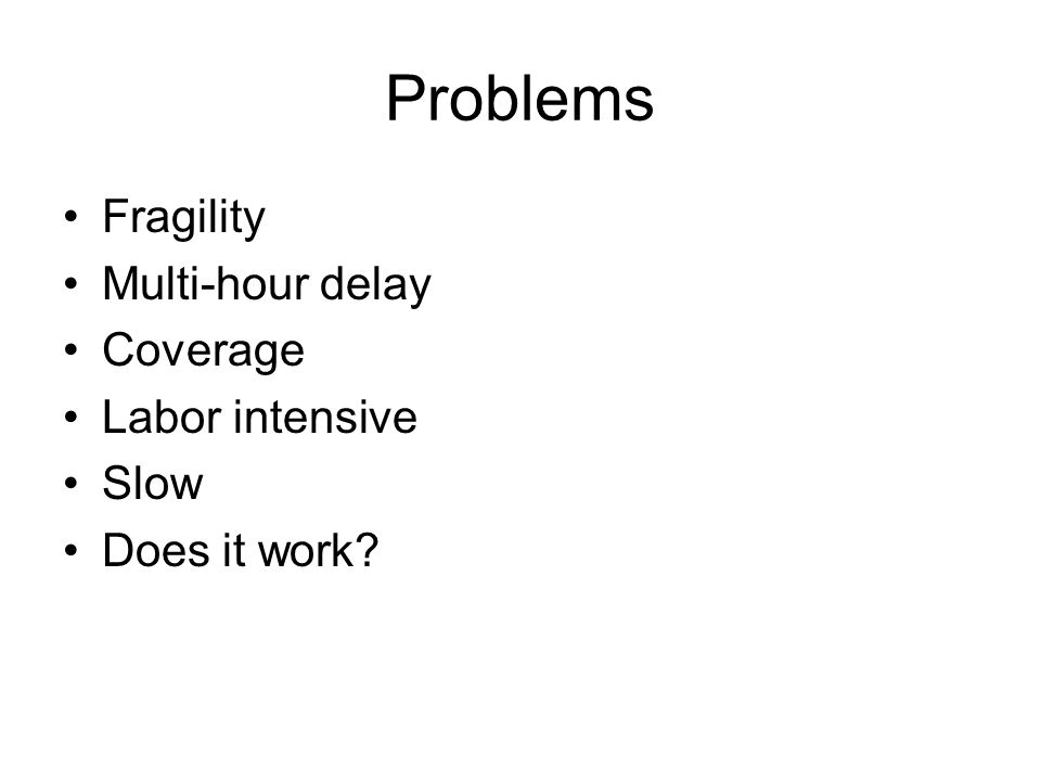 Problems Fragility Multi-hour delay Coverage Labor intensive Slow