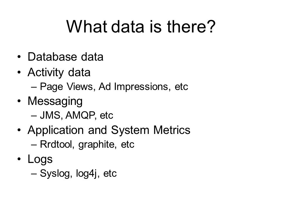 What data is there Database data Activity data Messaging