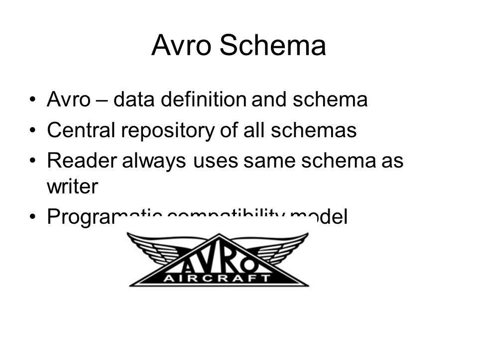 Avro Schema Avro – data definition and schema