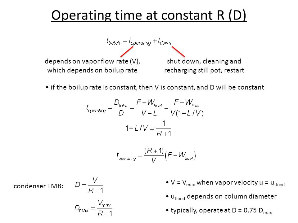 Operating time at constant R (D)