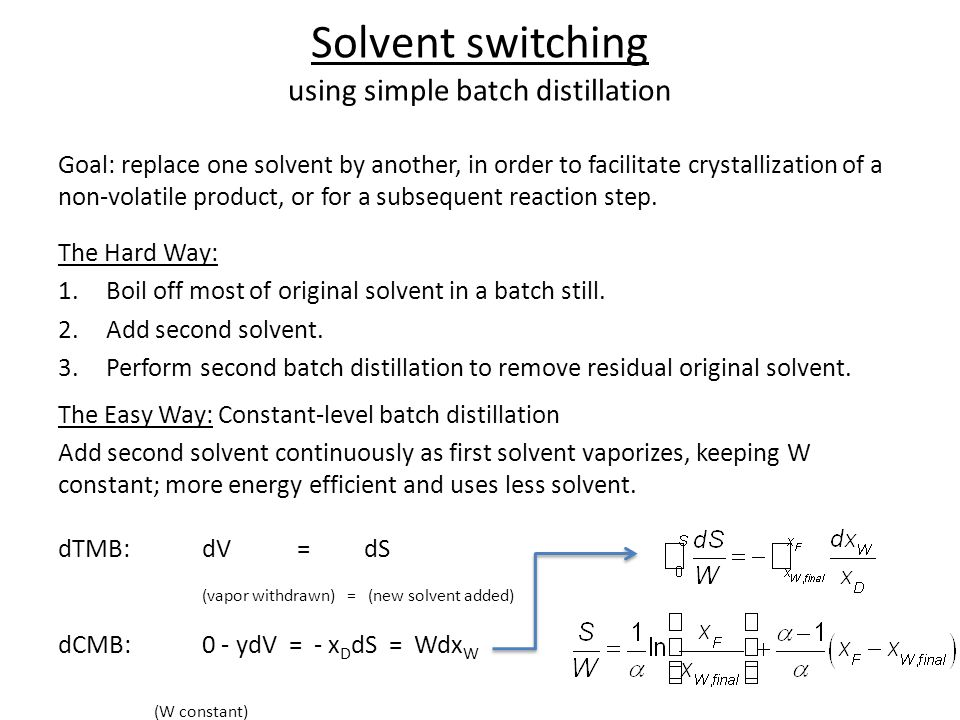 Solvent switching using simple batch distillation