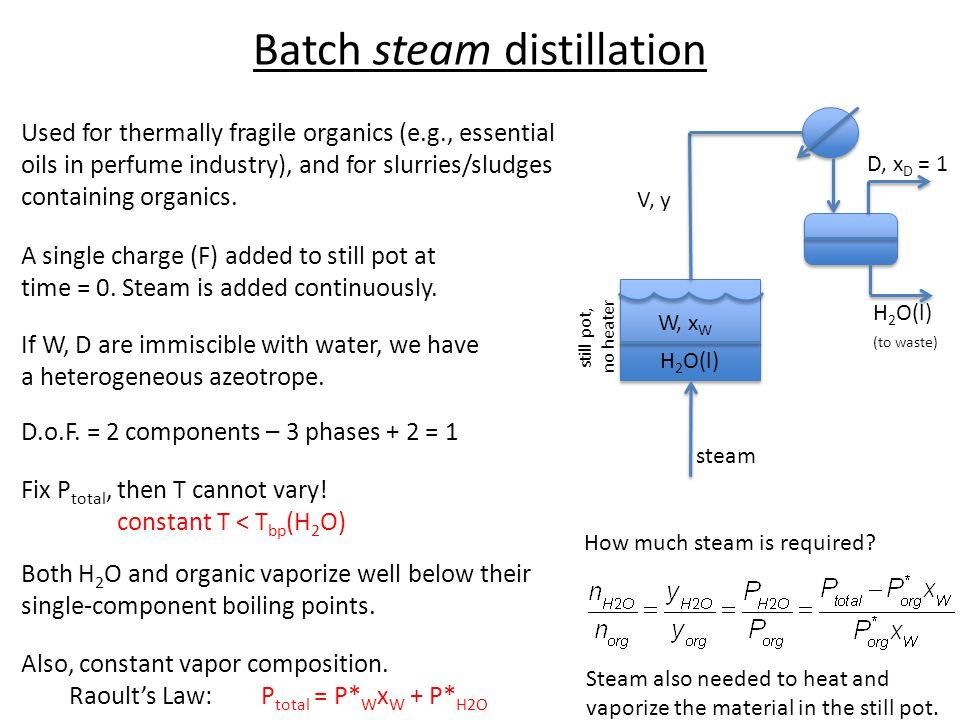 Batch steam distillation