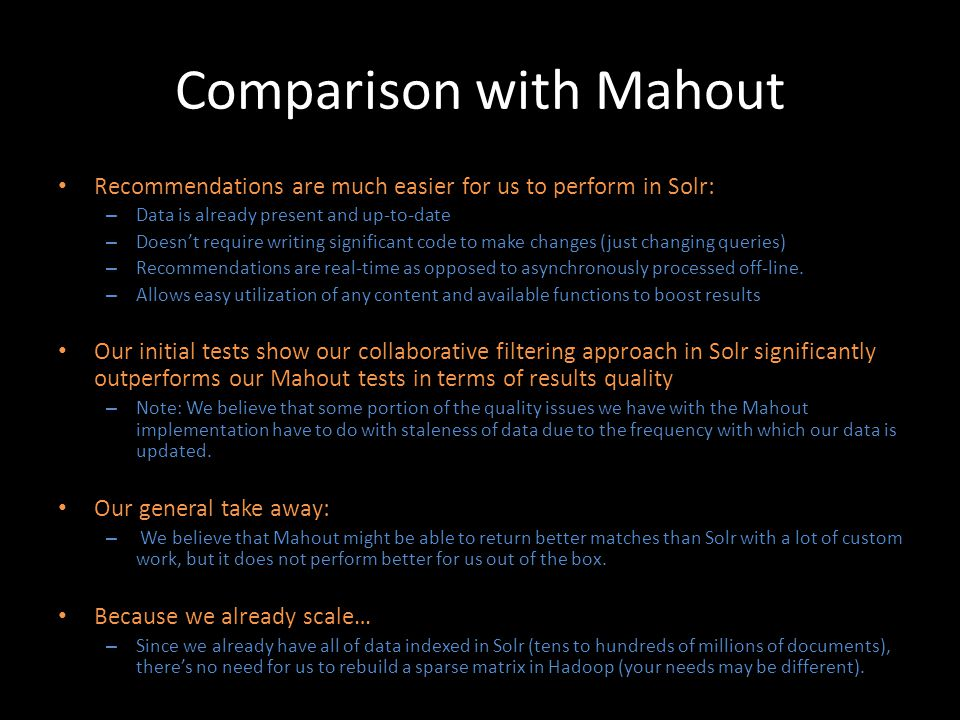 Comparison with Mahout