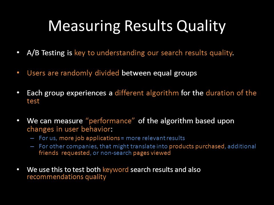 Measuring Results Quality