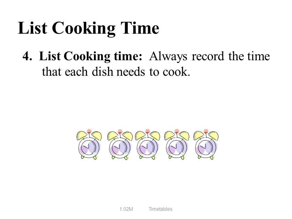 List Cooking Time 4. List Cooking time: Always record the time that each dish needs to cook.