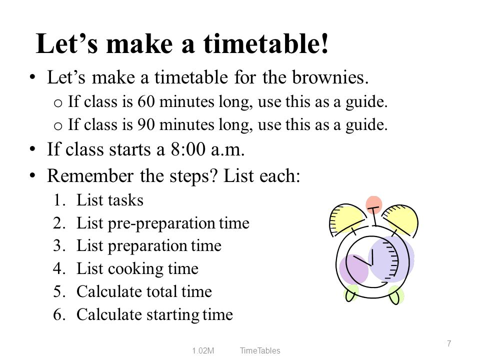 Let's make a timetable! Let's make a timetable for the brownies.