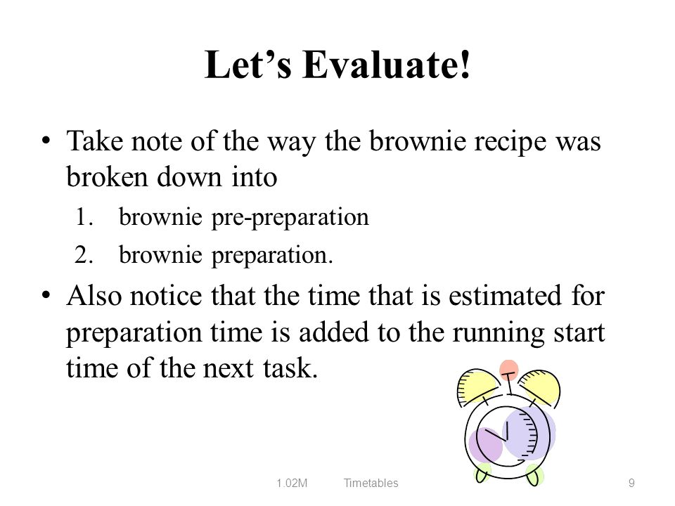 Let's Evaluate! Take note of the way the brownie recipe was broken down into. brownie pre-preparation.