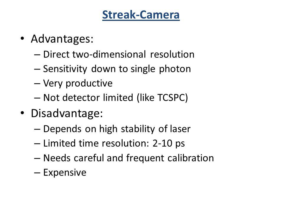 Streak-Camera Advantages: Disadvantage: