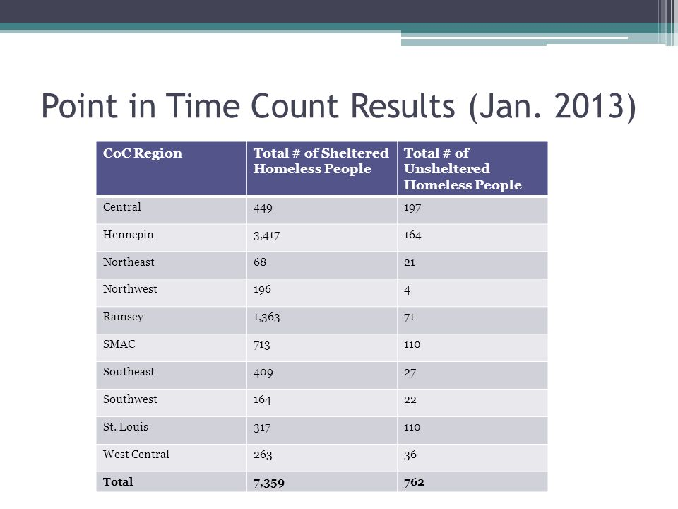 Point in Time Count Results (Jan. 2013)