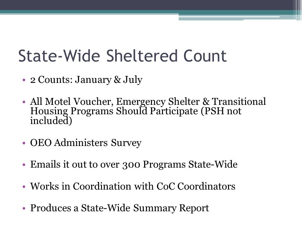 State-Wide Sheltered Count