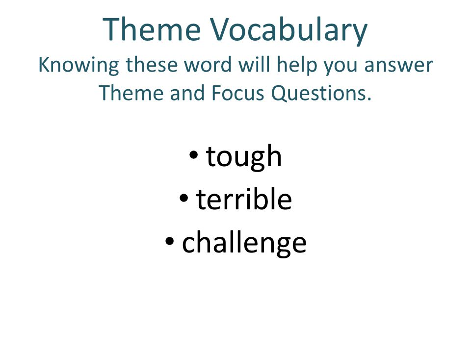 Theme Vocabulary Knowing these word will help you answer Theme and Focus Questions.
