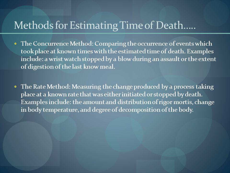 Methods for Estimating Time of Death…..