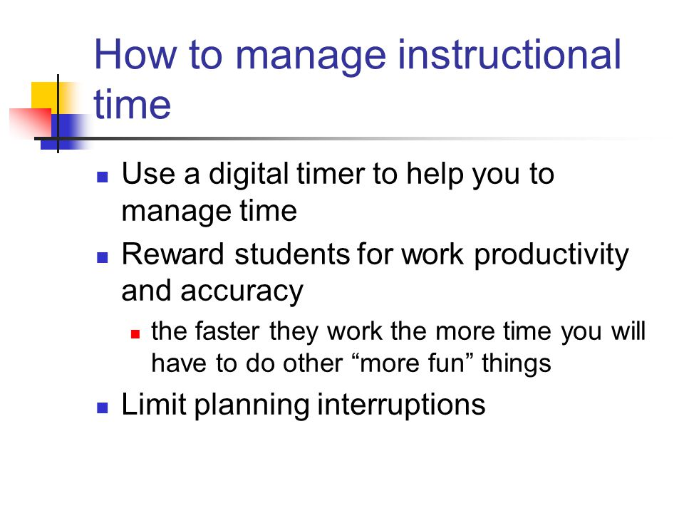 How to manage instructional time