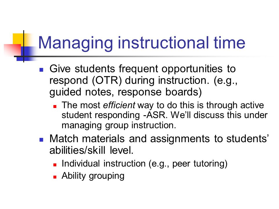 Managing instructional time