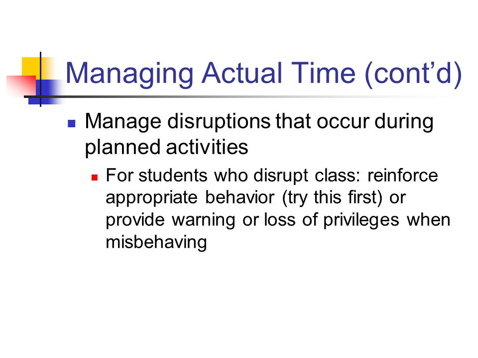 Managing Actual Time (cont'd)