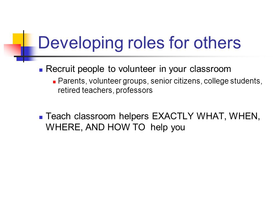Developing roles for others