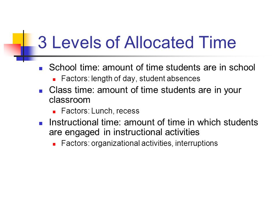 3 Levels of Allocated Time