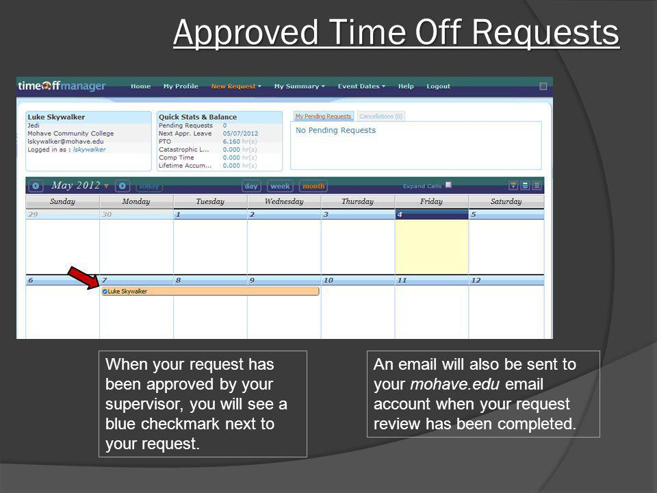Approved Time Off Requests