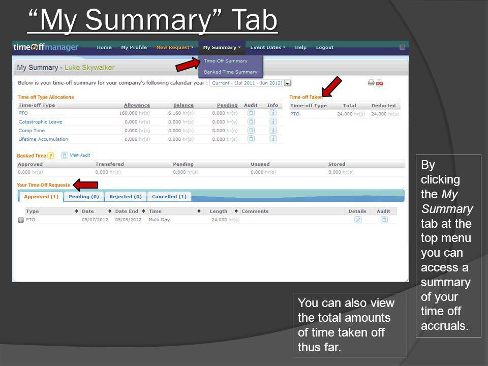 My Summary Tab By clicking the My Summary tab at the top menu you can access a summary of your time off accruals.