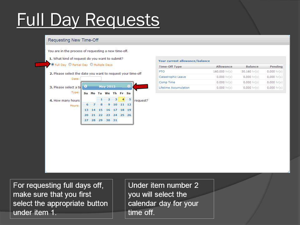 Full Day Requests For requesting full days off, make sure that you first select the appropriate button under item 1.