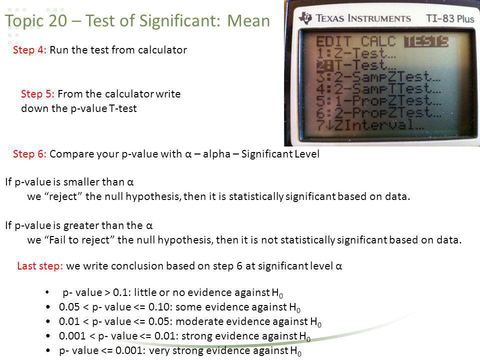 Topic 20 – Test of Significant: Mean