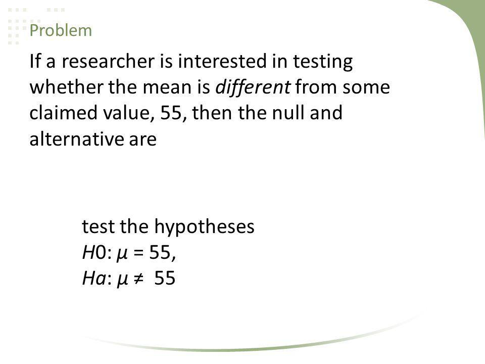 Problem If a researcher is interested in testing whether the mean is different from some claimed value, 55, then the null and alternative are.