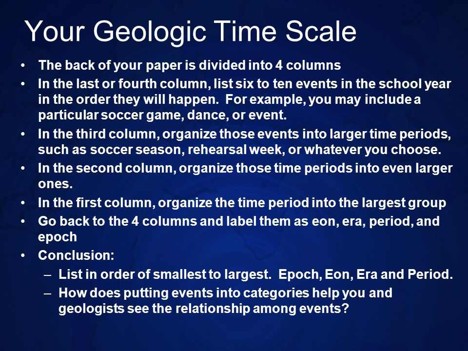 Your Geologic Time Scale