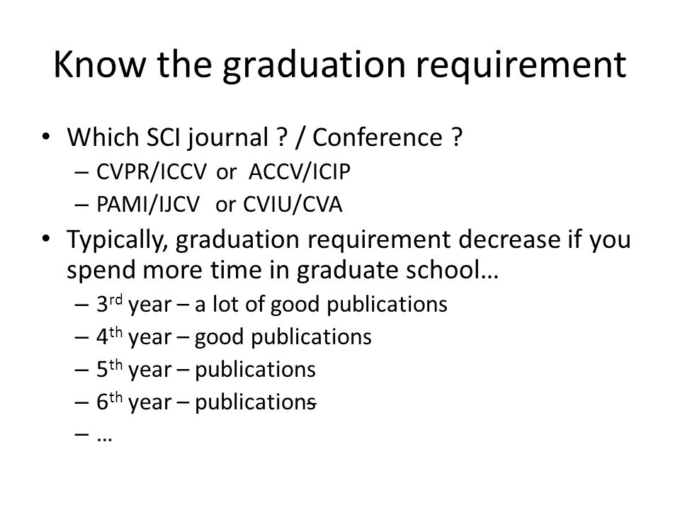 Know the graduation requirement