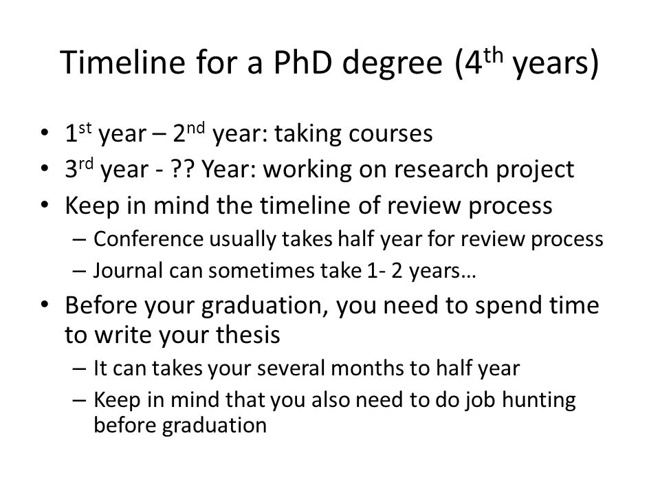 Timeline for a PhD degree (4th years)