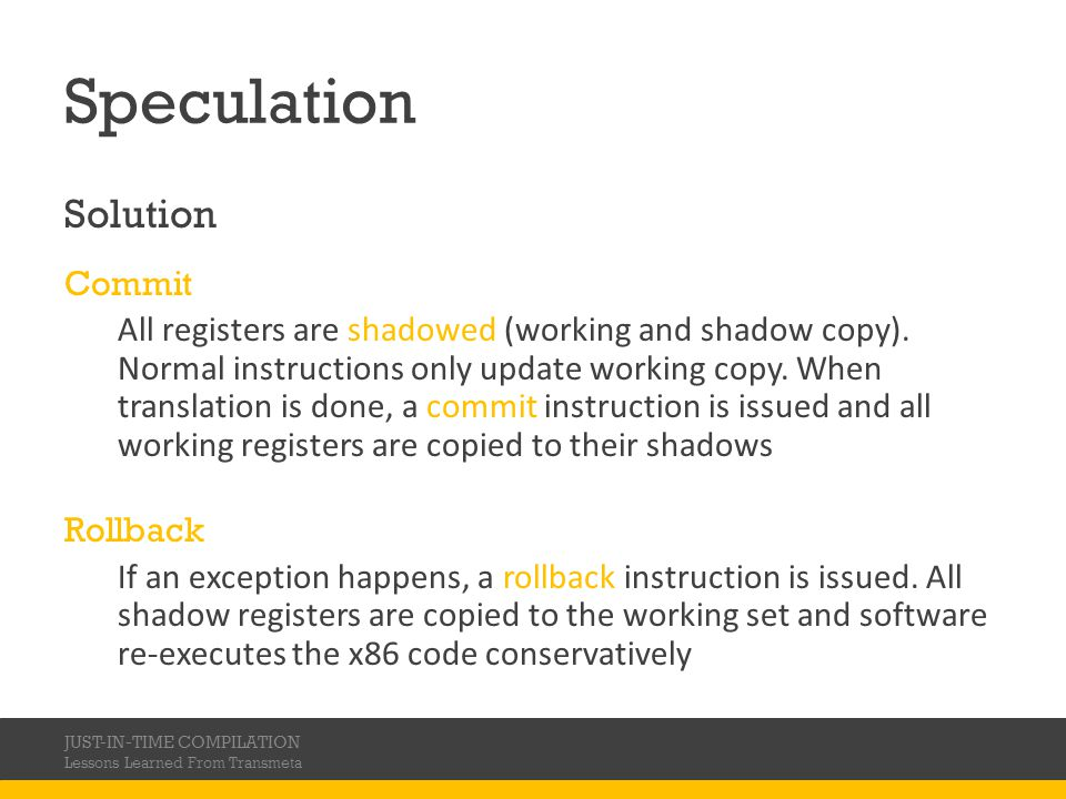Speculation Solution Commit