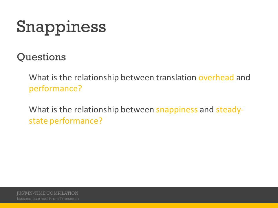 Snappiness Questions. What is the relationship between translation overhead and performance