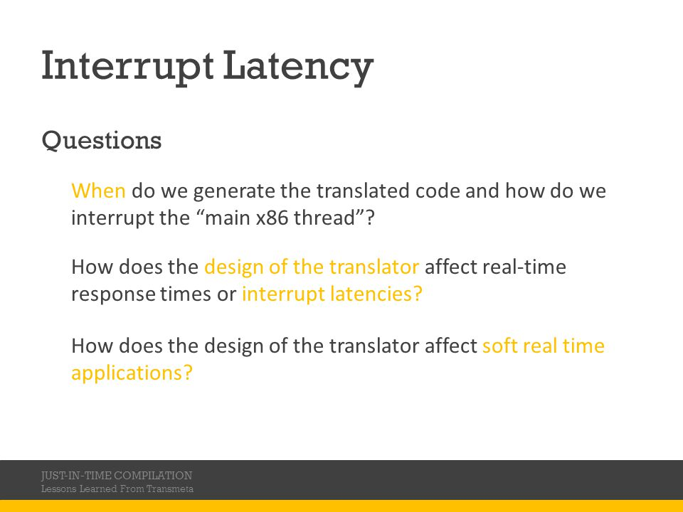 Interrupt Latency Questions