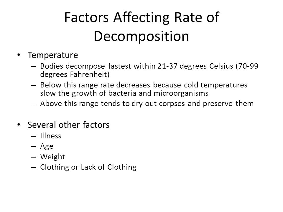 Factors Affecting Rate of Decomposition