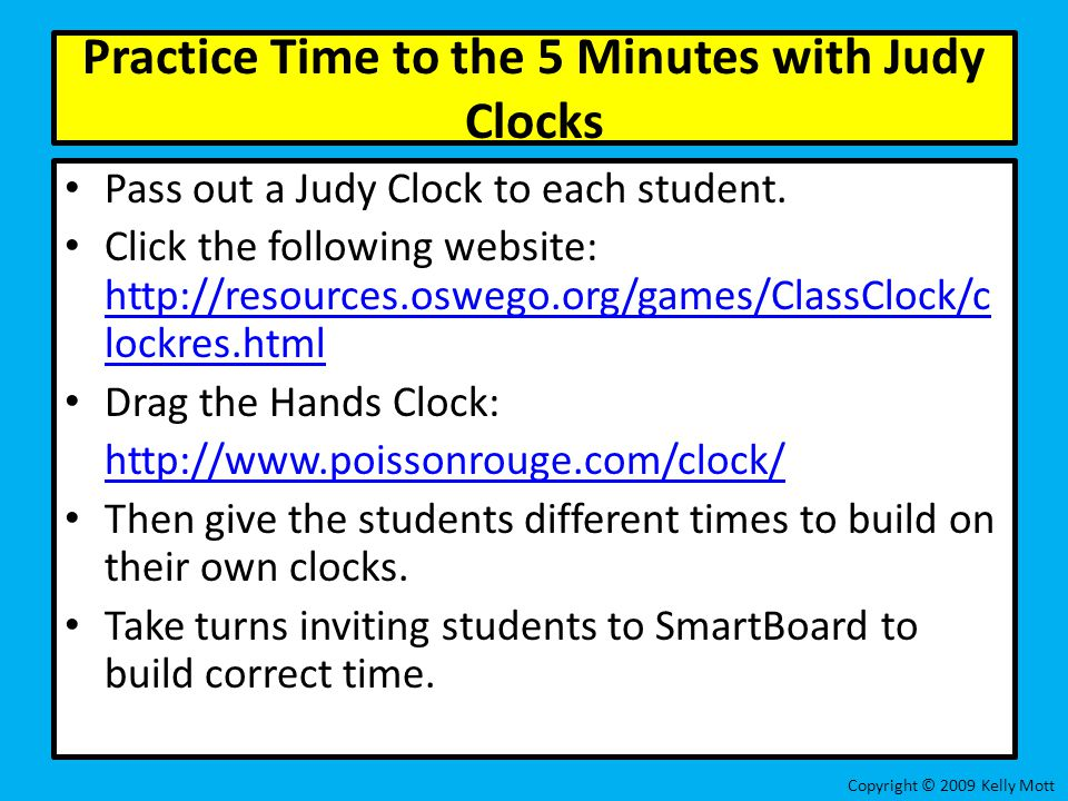 Practice Time to the 5 Minutes with Judy Clocks