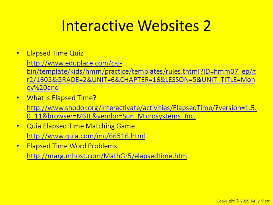 Interactive Websites 2 Elapsed Time Quiz