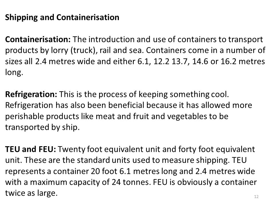 Shipping and Containerisation