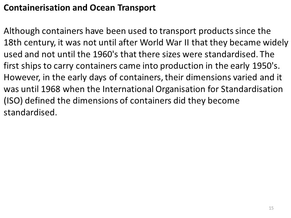 Containerisation and Ocean Transport