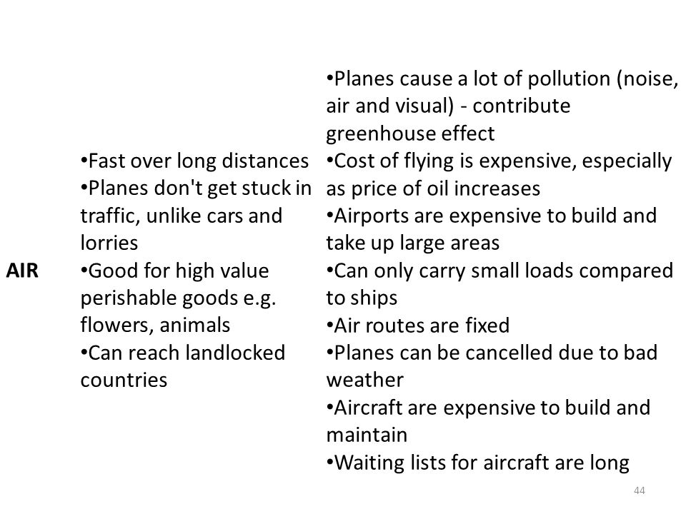 AIR Fast over long distances. Planes don t get stuck in traffic, unlike cars and lorries.