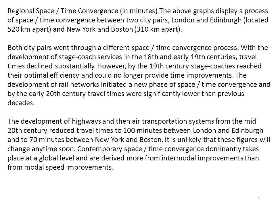 Regional Space / Time Convergence (in minutes) The above graphs display a process of space / time convergence between two city pairs, London and Edinburgh (located 520 km apart) and New York and Boston (310 km apart).