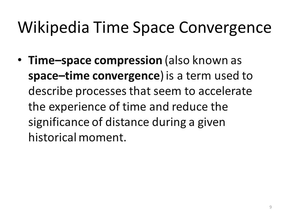 Wikipedia Time Space Convergence