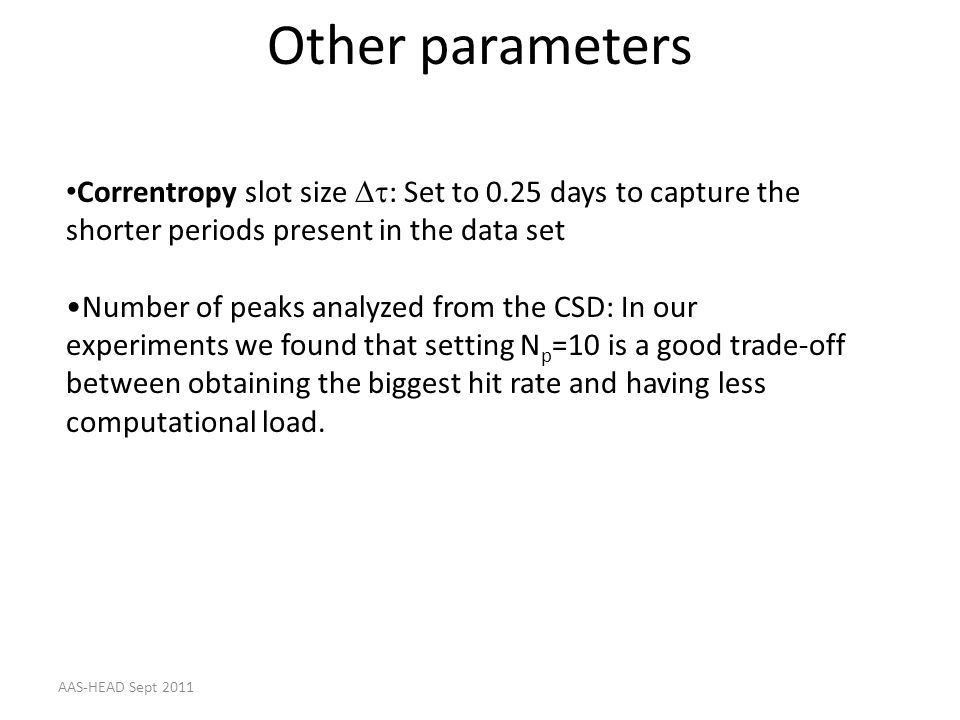Other parameters Correntropy slot size Dt: Set to 0.25 days to capture the shorter periods present in the data set.
