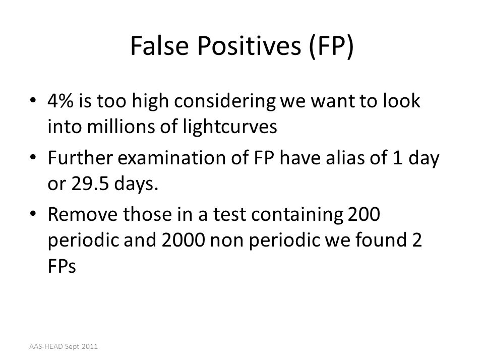 False Positives (FP) 4% is too high considering we want to look into millions of lightcurves.
