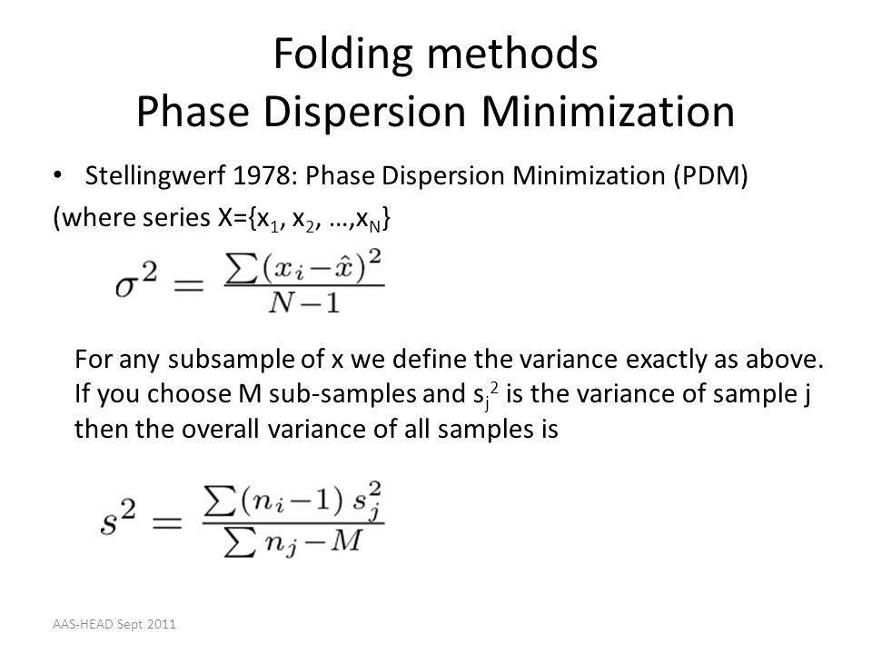 Folding methods Phase Dispersion Minimization