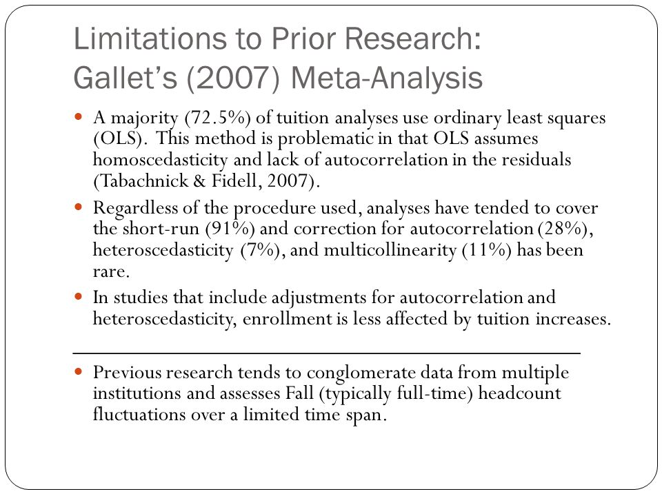 Limitations to Prior Research: Gallet's (2007) Meta-Analysis