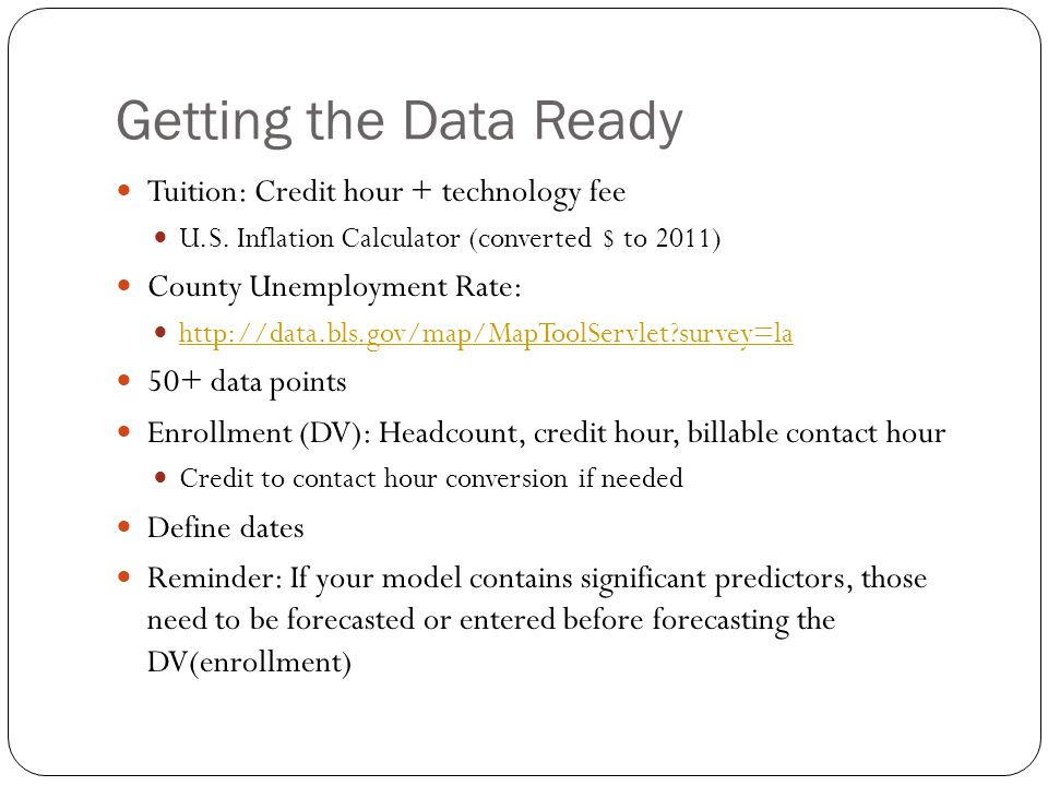 Getting the Data Ready Tuition: Credit hour + technology fee