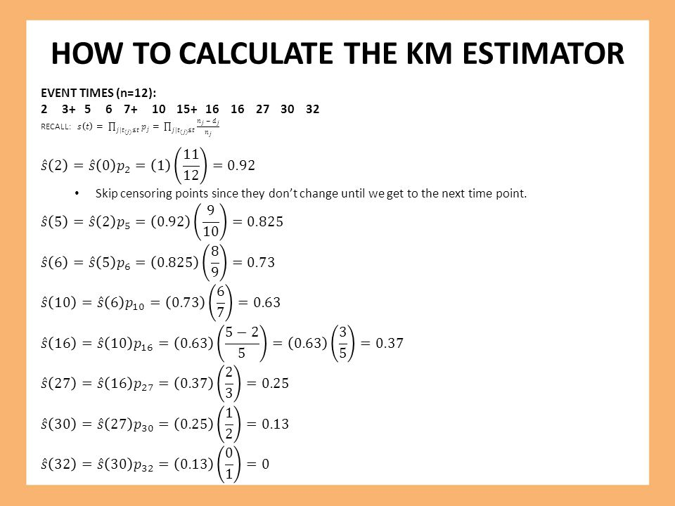 HOW TO CALCULATE THE KM ESTIMATOR