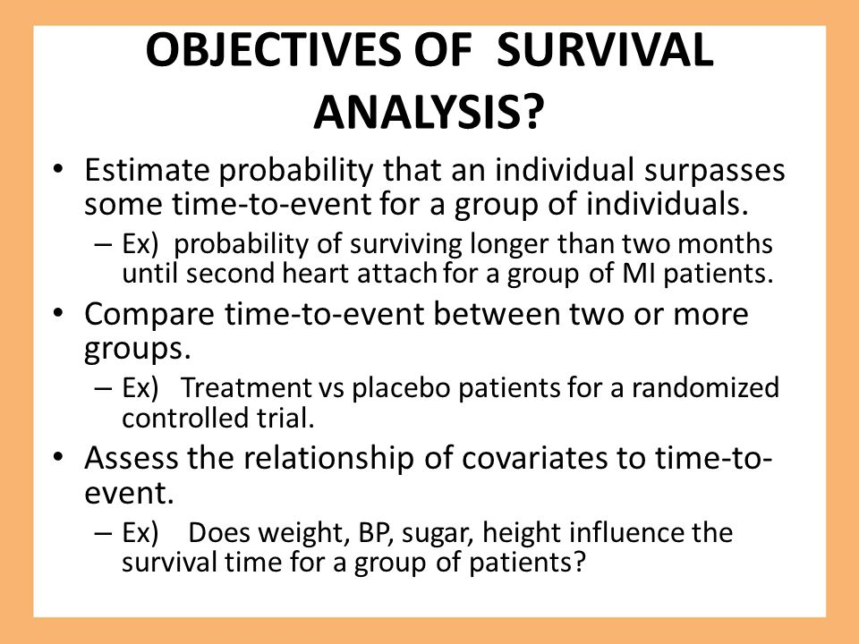 OBJECTIVES OF SURVIVAL ANALYSIS