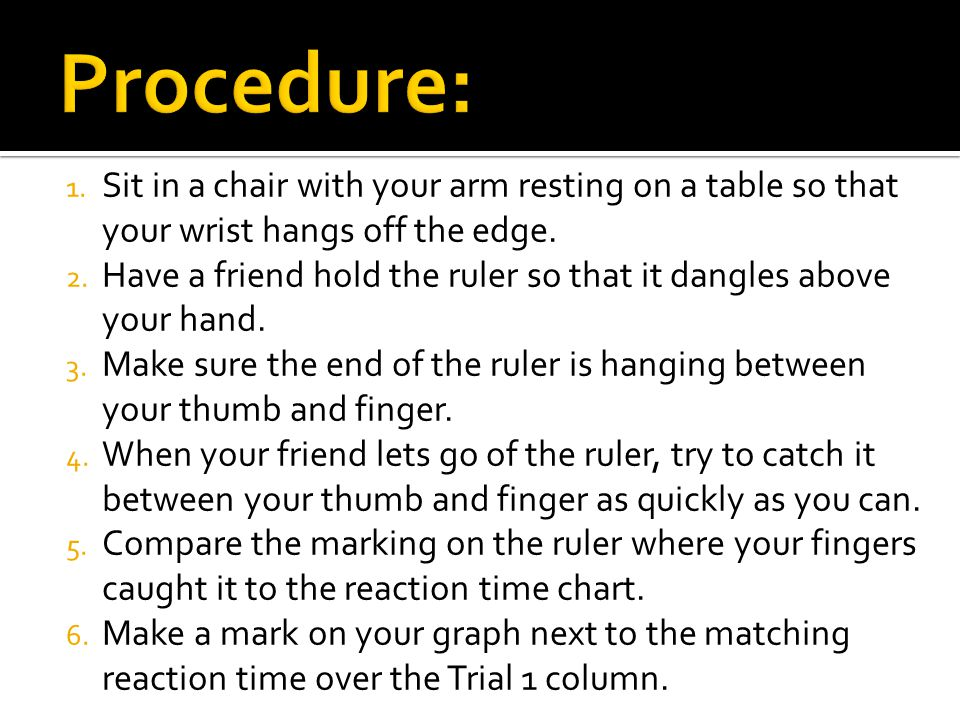 Procedure: Sit in a chair with your arm resting on a table so that your wrist hangs off the edge.