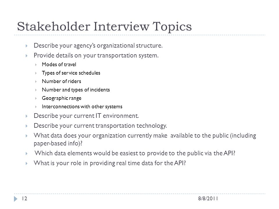 Stakeholder Interview Topics