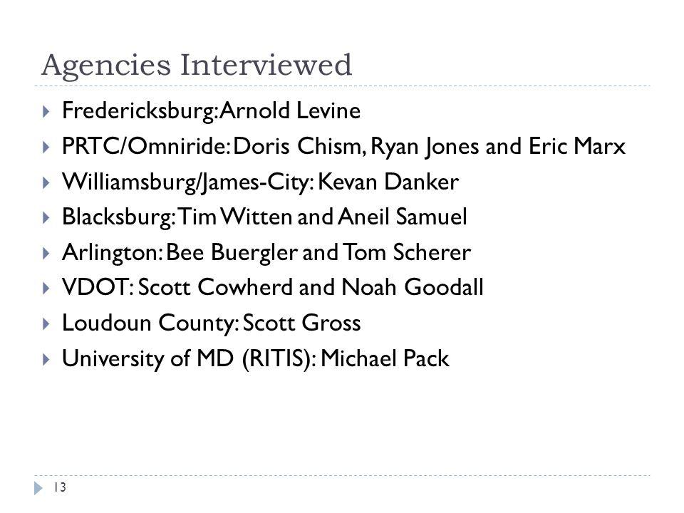 Agencies Interviewed Fredericksburg: Arnold Levine